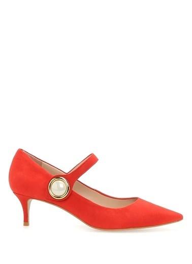 Carvela Hakiki Deri İnce Topuklu Ayakkabı Kırmızı